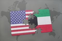 Puzzle with the national flag of united states of america and kuwait on a world map background. Concept Royalty Free Stock Images