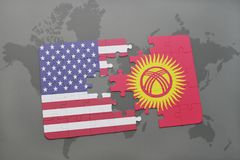 Puzzle with the national flag of united states of america and kyrgyzstan on a world map background. Concept Stock Image