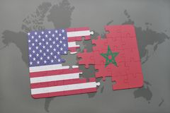 Puzzle with the national flag of united states of america and morocco on a world map background. 3D illustration stock photography