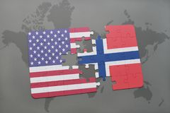 Puzzle with the national flag of united states of america and norway on a world map background. Concept Royalty Free Stock Photos