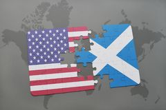puzzle with the national flag of united states of america and scotland on a world map background Stock Image