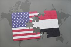 Puzzle with the national flag of united states of america and yemen on a world map background. Concept Stock Photography