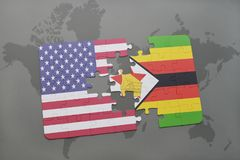 Puzzle with the national flag of united states of america and zimbabwe on a world map background. 3D illustration Stock Photo