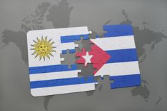 Puzzle with the national flag of uruguay and cuba on a world map background. 3D illustration stock photos