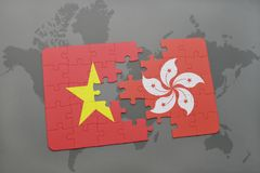 Puzzle with the national flag of vietnam and hong kong on a world map background. 3D illustration Royalty Free Stock Images