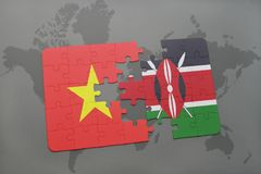 Puzzle with the national flag of vietnam and kenya on a world map. Background. 3D illustration royalty free stock photos
