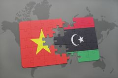 Puzzle with the national flag of vietnam and libya on a world map. Background. 3D illustration stock image