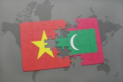 Puzzle with the national flag of vietnam and maldives on a world map background. Stock Photos