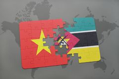 Puzzle with the national flag of vietnam and mozambique on a world map. Background. 3D illustration Royalty Free Stock Photo