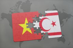 Puzzle with the national flag of vietnam and northern cyprus on a world map background. Stock Images