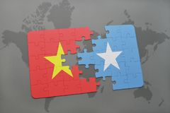 Puzzle with the national flag of vietnam and somalia on a world map. Background. 3D illustration stock photo