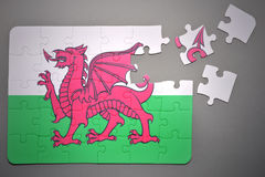 Puzzle with the national flag of wales Stock Photo