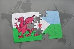 Puzzle with the national flag of wales and djibouti on a world map. Background. 3D illustration Royalty Free Stock Photo