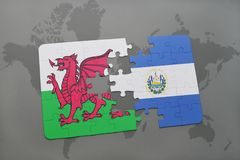 Puzzle with the national flag of wales and el salvador on a world map. Background. 3D illustration Stock Images