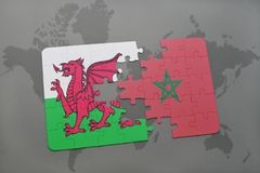 Puzzle with the national flag of wales and morocco on a world map. Background. 3D illustration royalty free stock photography
