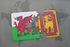 Puzzle with the national flag of wales and sri lanka on a world map. Background. 3D illustration Stock Photos