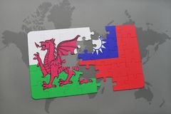 Puzzle with the national flag of wales and taiwan on a world map. Background. 3D illustration Stock Image