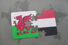 Puzzle with the national flag of wales and yemen on a world map. Background. 3D illustration Stock Images