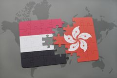 Puzzle with the national flag of yemen and hong kong on a world map background. 3D illustration Stock Photos