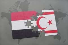 Puzzle with the national flag of yemen and northern cyprus on a world map background. Royalty Free Stock Image