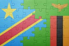 Puzzle with the national flag of zambia and democratic republic of the congo Royalty Free Stock Image