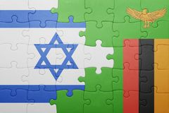 Puzzle with the national flag of zambia and israel Stock Photography