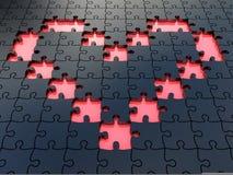 Puzzle neri del cuore del puzzle Fotografie Stock Libere da Diritti