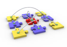 Puzzle network. 3d render of networking concept with puzzle peaces Stock Images