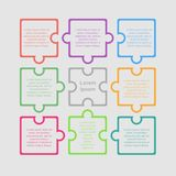 Puzzle Nine Pieces Infographic. Circle 9 Steps. Colorful Puzzle Nine Piece Business Presentation. Square Infographic. Circle 9 Step Process Diagram Card stock illustration