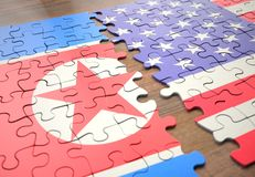 Puzzle North Korea And United States royalty free stock photography