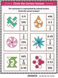 Puzzle o foglio di lavoro di addestramento di abilità di per la matematica con le frazioni visive illustrazione di stock