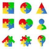 Puzzle objects with arrows Royalty Free Stock Images