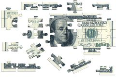 Puzzle, one hundred dolar. On white background Royalty Free Stock Photos