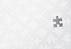 Puzzle with One Missing Piece. White jigsaw puzzle with one piece missing vector illustration