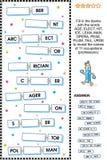 Puzzle orienté de mot de métiers (professions) Images libres de droits