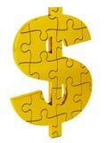 Puzzle, oro e solido del dollaro Fotografie Stock