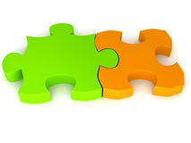 Puzzle over white Royalty Free Stock Photos