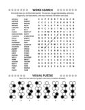 Puzzle page with two brain games. General knowledge non-themed word search puzzle English language and visual puzzle. Black and white, A4 or Letter sized stock illustration