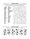 Puzzle page with two brain games. General knowledge non-themed word search puzzle English language and visual puzzle. Black and white, A4 or Letter sized vector illustration