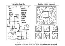 Puzzle page with two puzzles Vector Illustration