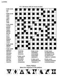 Puzzle page with crossword word game and picture riddle Stock Image
