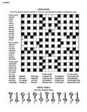 Puzzle page with word game and picture riddle. Puzzle page with two puzzles: big 19x19 criss-cross word game (English language) and small visual puzzle with Stock Photos