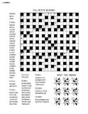 Puzzle page with word game and picture riddle. Puzzle page with two puzzles: 19x19 criss-cross word game English language and abstract visual puzzle. Black and Royalty Free Stock Photo