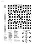 Puzzle page with word game and picture riddle. Puzzle page with two puzzles: 19x19 criss-cross word game English language and abstract visual puzzle. Black and Stock Image