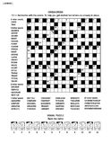 Puzzle page with word game and picture riddle. Puzzle page with two puzzles: 19x19 criss-cross word game English language and visual puzzle with whimsical faces Stock Images