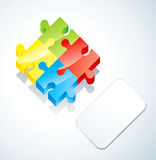 Puzzle and paper card Stock Image
