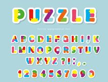 Puzzle paper cut out font. ABC colorful creative letters and numbers. Vector Stock Photography