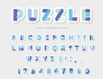 Puzzle paper cut out font in blue colors. Vector. Illustration stock illustration