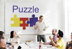 Puzzle Partnership Cooperation Connection Concept stock image