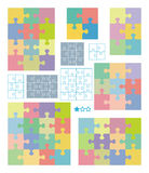 Puzzle patterns. Vector jigsaw puzzle patterns of various dimensions Stock Photo